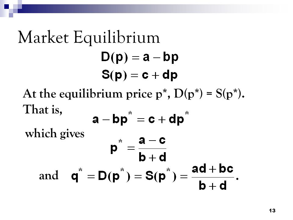 Market Equilibrium At the equilibrium price p*, D(p*) = S(p*). That is, which gives and
