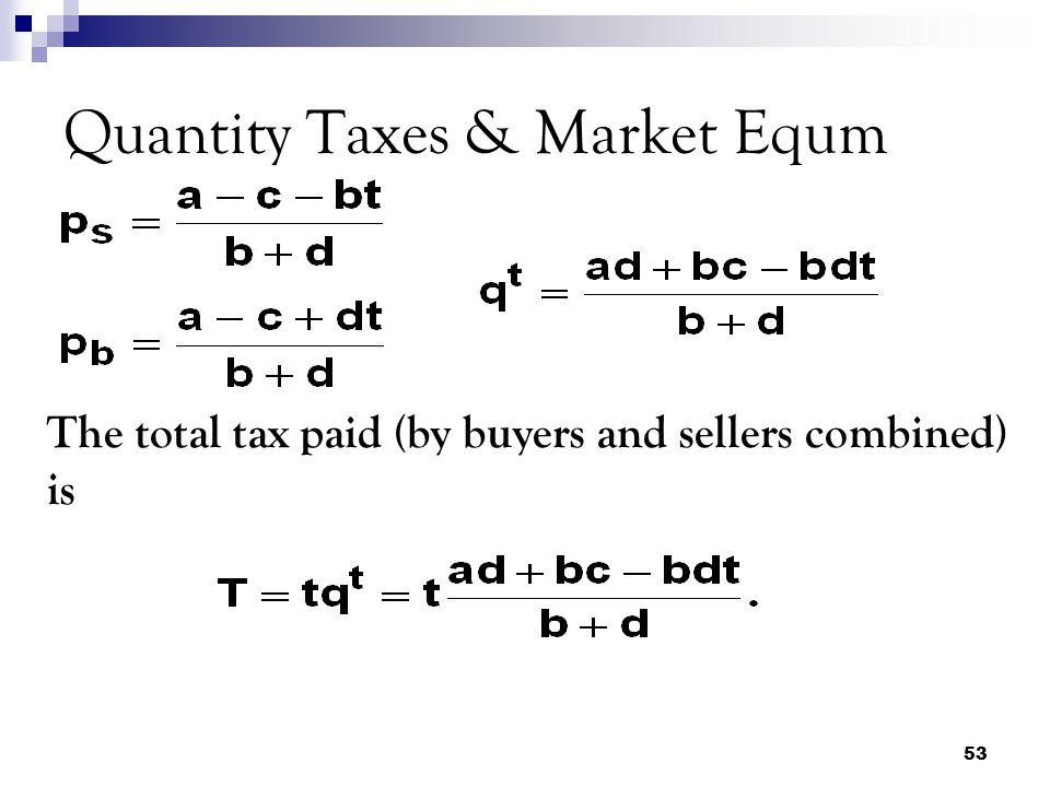 Quantity Taxes & Market Equm