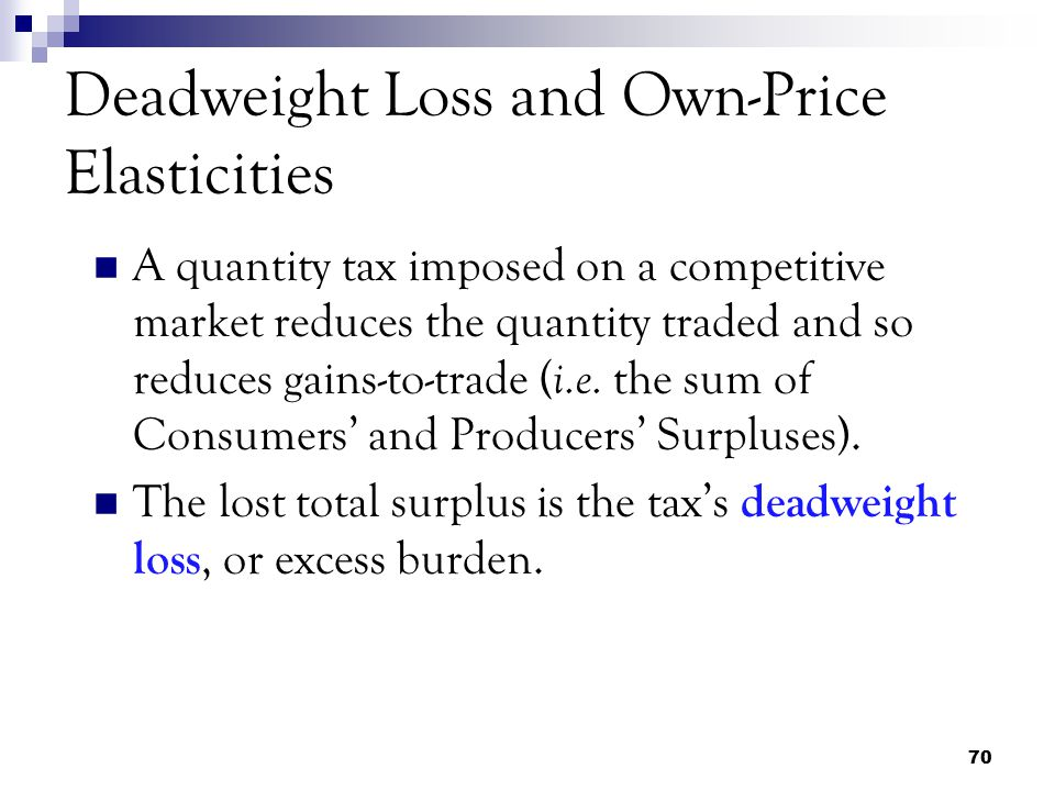 Deadweight Loss and Own-Price Elasticities
