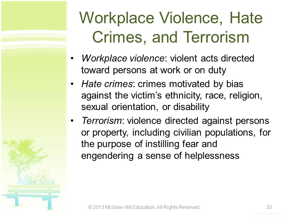 Workplace Violence, Hate Crimes, and Terrorism