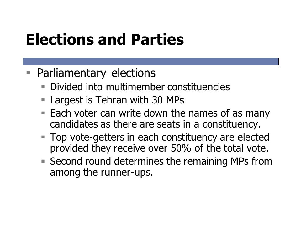 Elections and Parties Parliamentary elections