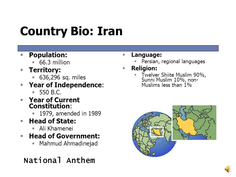 Country Bio: Iran National Anthem Population: Territory: