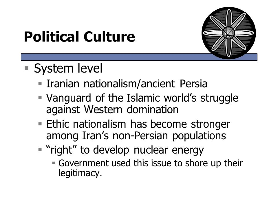 Political Culture System level Iranian nationalism/ancient Persia