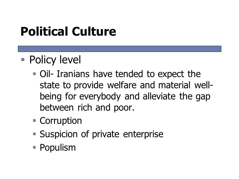 Political Culture Policy level