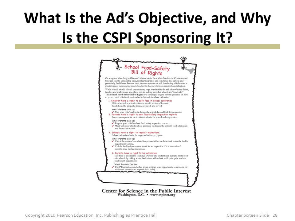 What Is the Ad's Objective, and Why Is the CSPI Sponsoring It