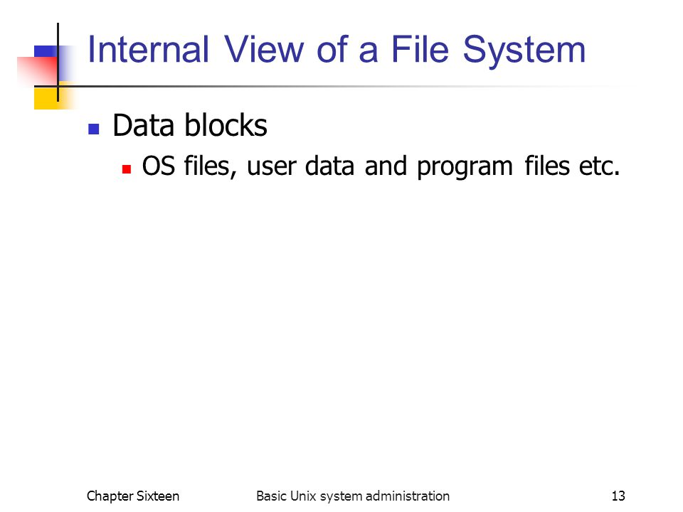 Internal View of a File System
