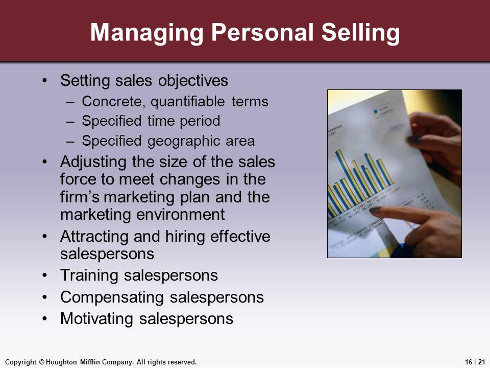 Managing Personal Selling