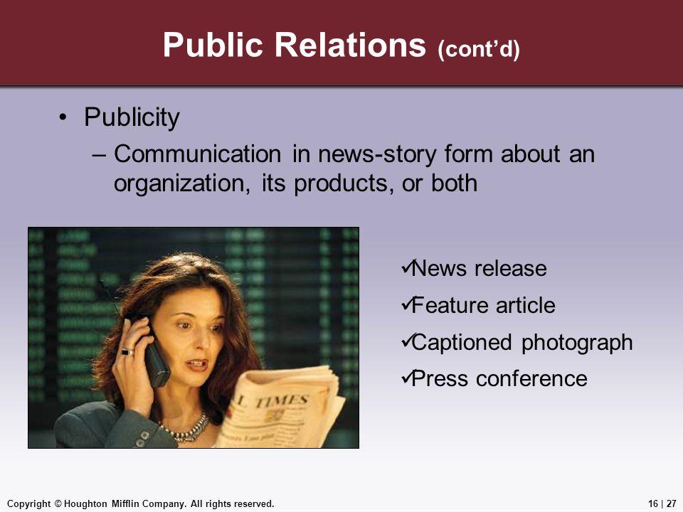 Public Relations (cont'd)