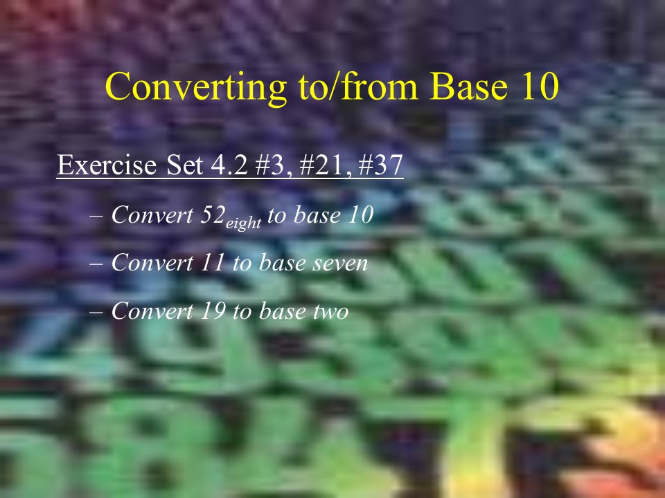 Converting to/from Base 10