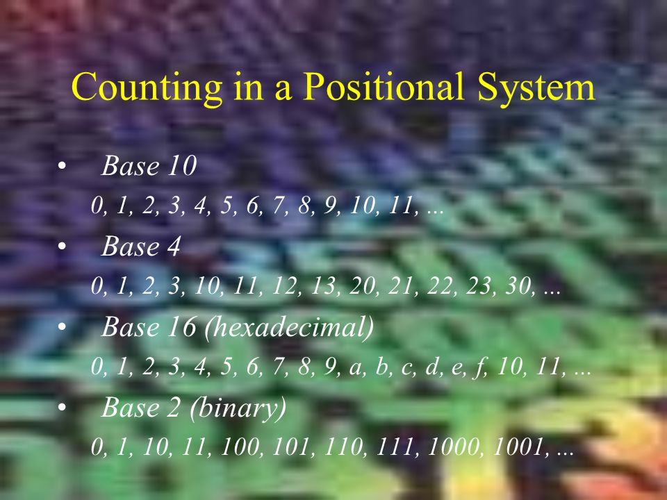 Counting in a Positional System
