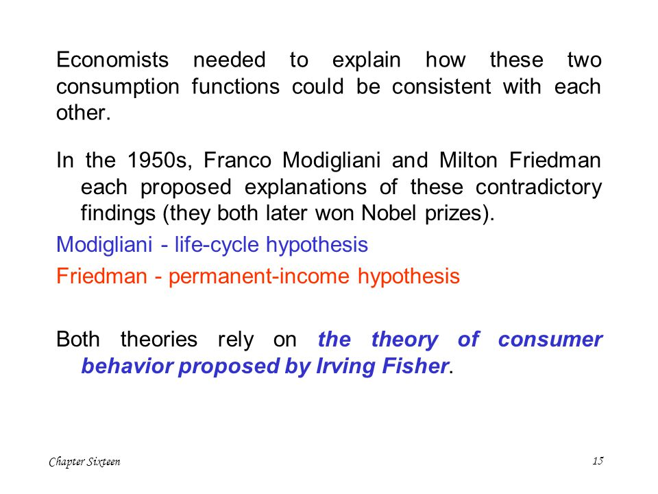 Economists needed to explain how these two consumption functions could be consistent with each other.