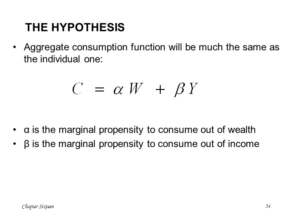 THE HYPOTHESIS Aggregate consumption function will be much the same as the individual one: α is the marginal propensity to consume out of wealth.