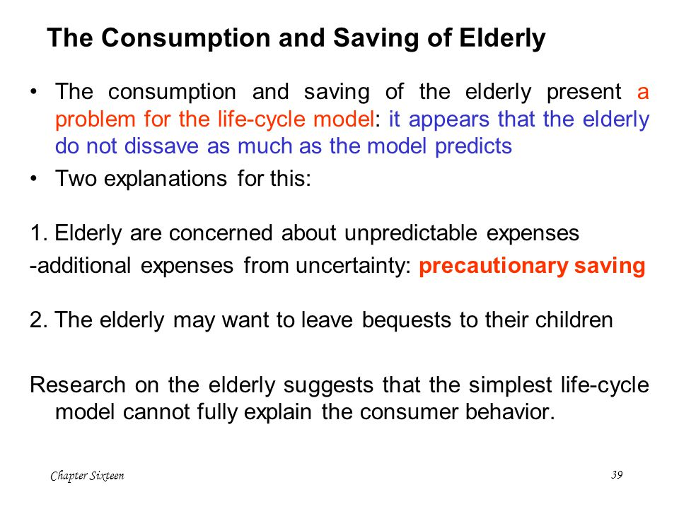 The Consumption and Saving of Elderly