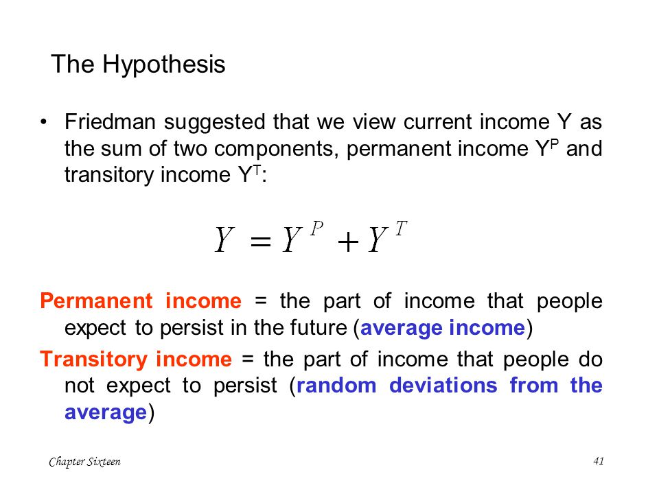 The Hypothesis Friedman suggested that we view current income Y as the sum of two components, permanent income YP and transitory income YT: