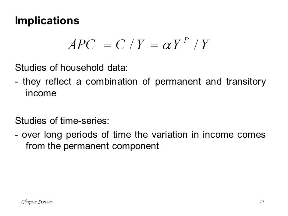 Implications Studies of household data: