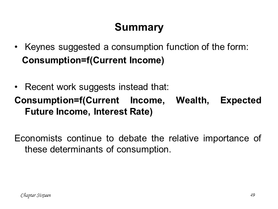 Summary Keynes suggested a consumption function of the form:
