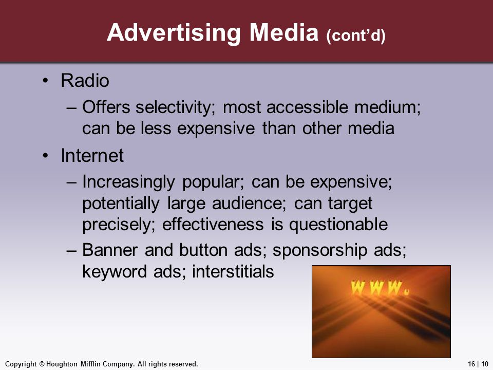 Advertising Media (cont'd)