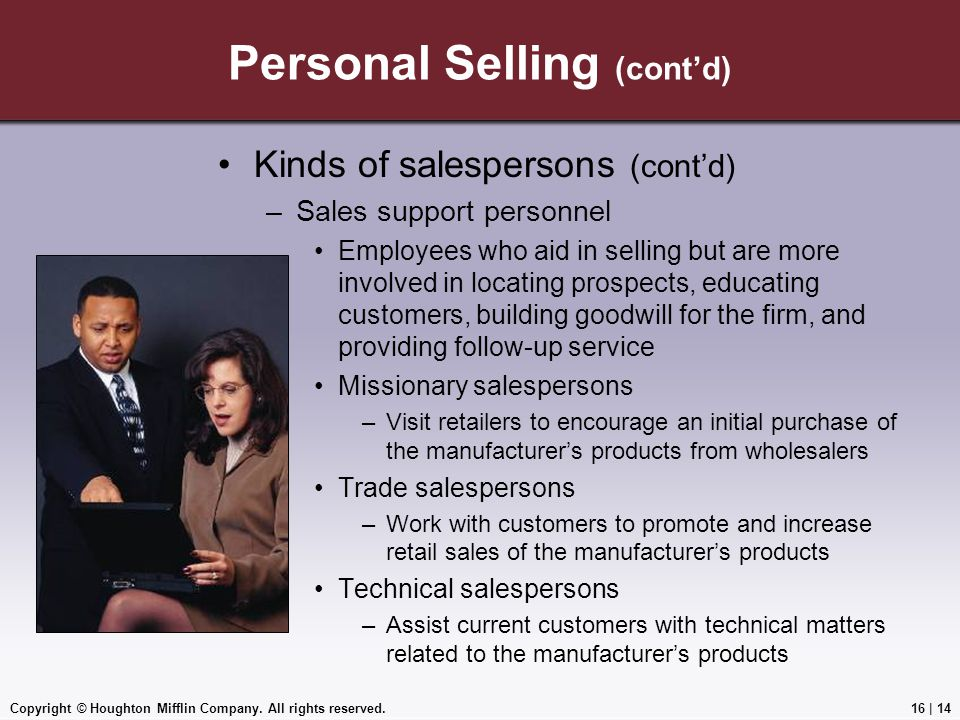 Personal Selling (cont'd)
