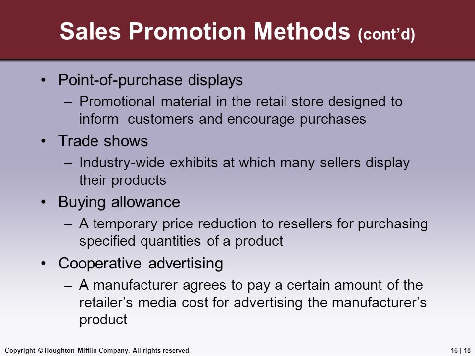 Sales Promotion Methods (cont'd)