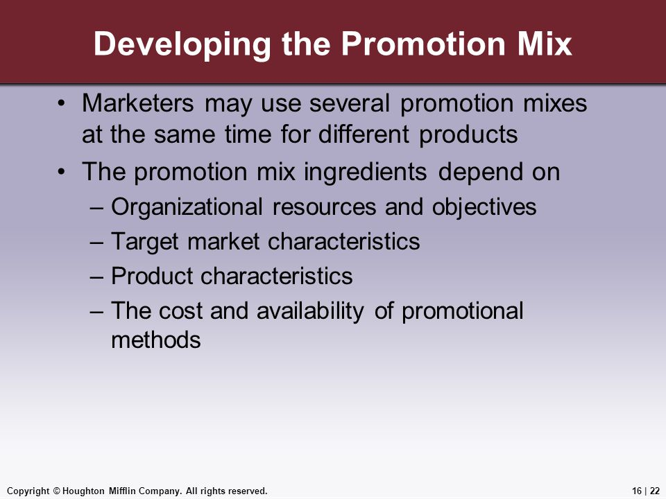 Developing the Promotion Mix