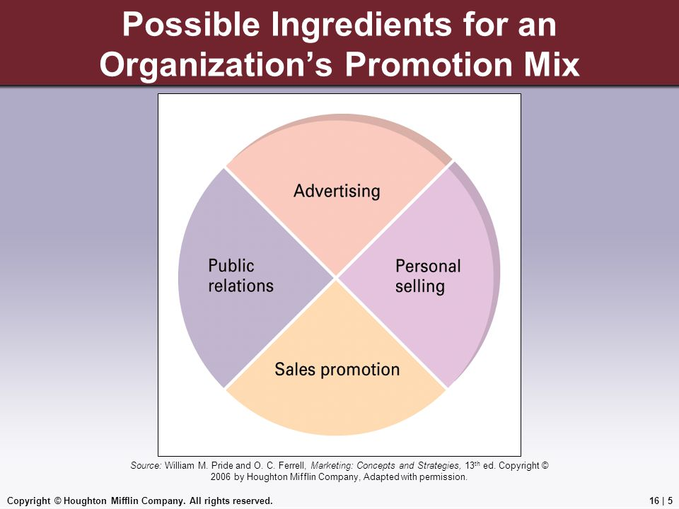 Possible Ingredients for an Organization's Promotion Mix