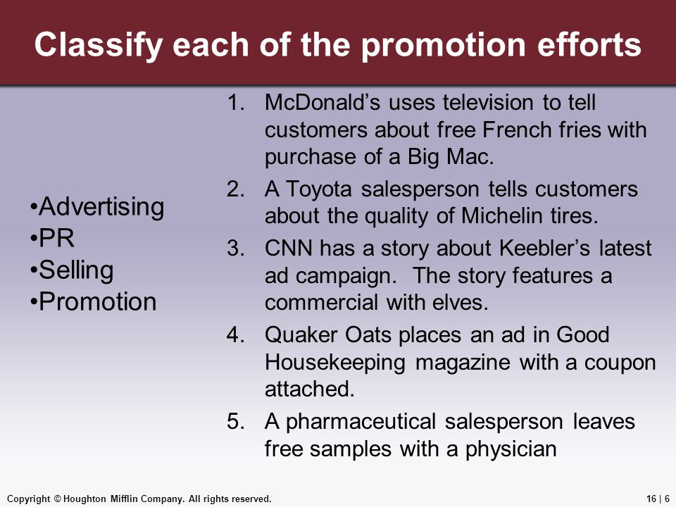 Classify each of the promotion efforts