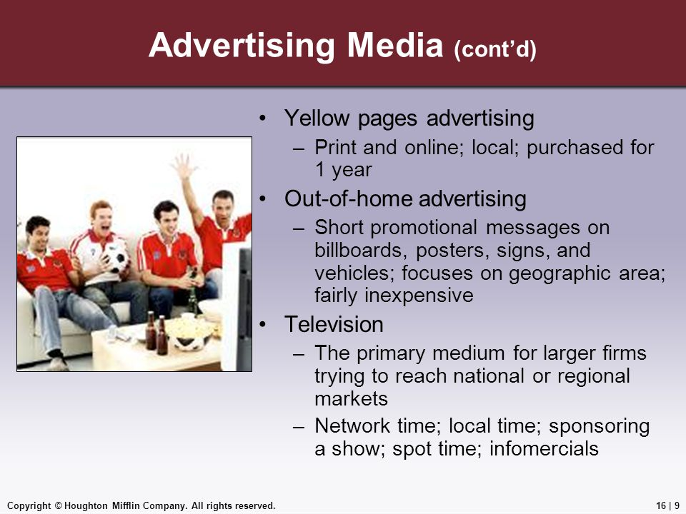 Advertising Media (cont'd)
