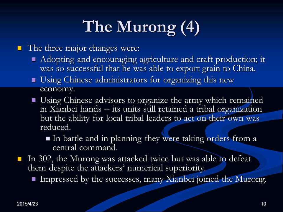 The Murong (4) The three major changes were: