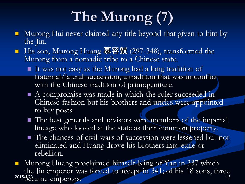 The Murong (7) Murong Hui never claimed any title beyond that given to him by the Jin.