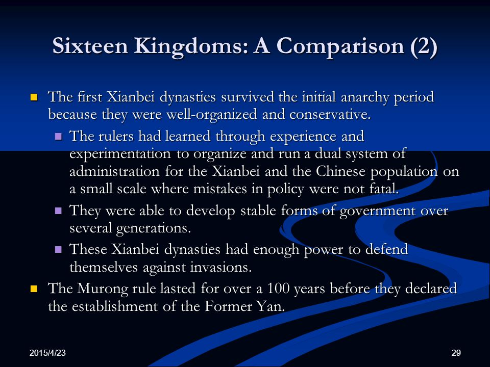 Sixteen Kingdoms: A Comparison (2)