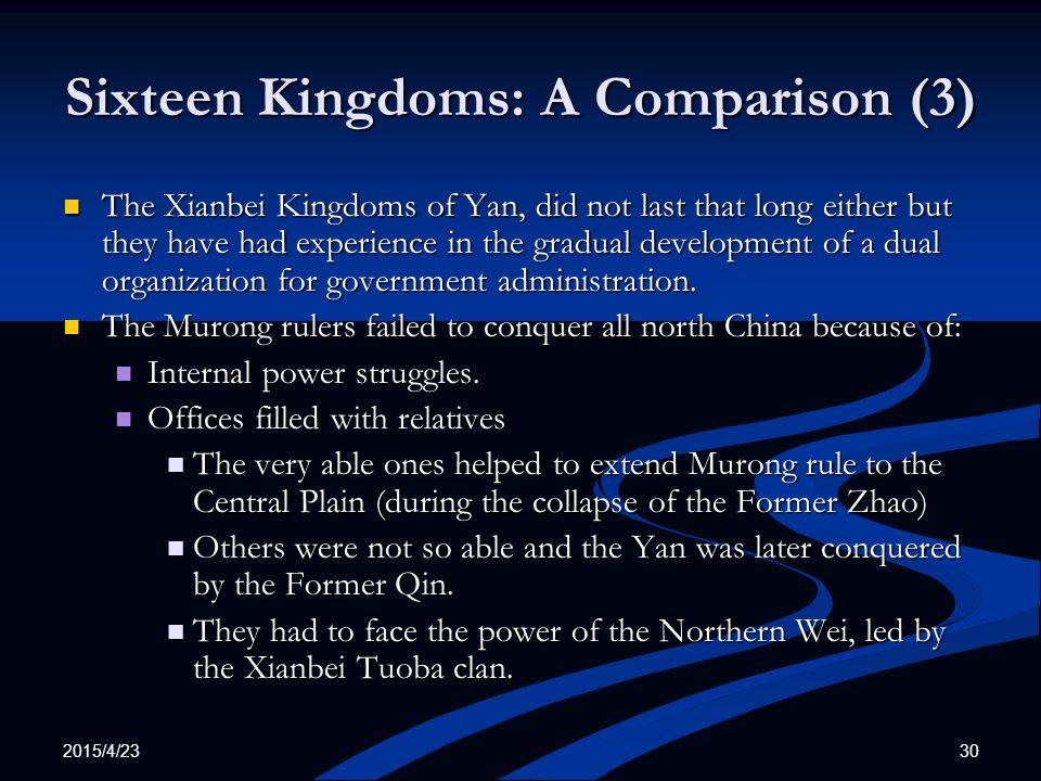 Sixteen Kingdoms: A Comparison (3)
