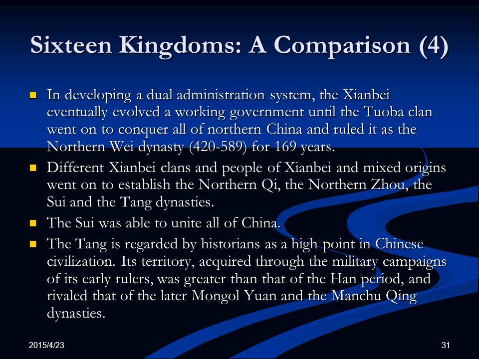Sixteen Kingdoms: A Comparison (4)