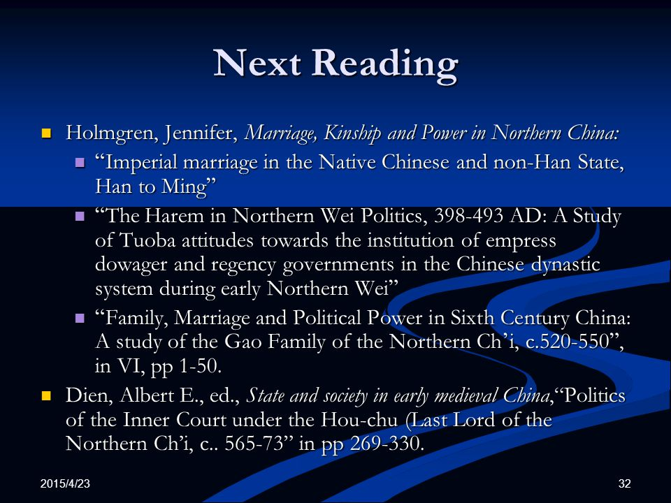 Next Reading Holmgren, Jennifer, Marriage, Kinship and Power in Northern China: