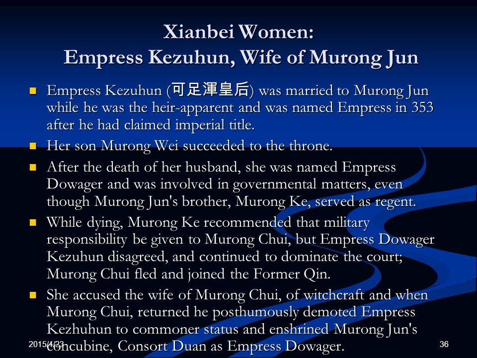 Xianbei Women: Empress Kezuhun, Wife of Murong Jun