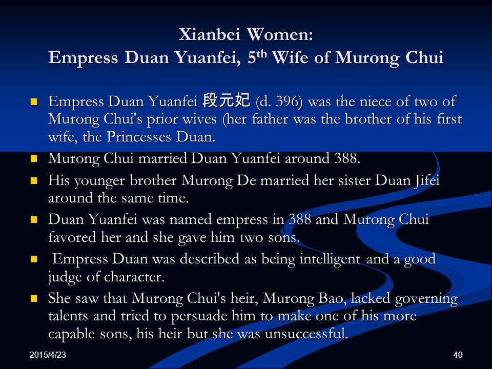 Xianbei Women: Empress Duan Yuanfei, 5th Wife of Murong Chui