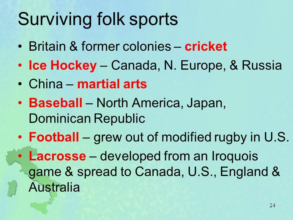 Surviving folk sports Britain & former colonies – cricket