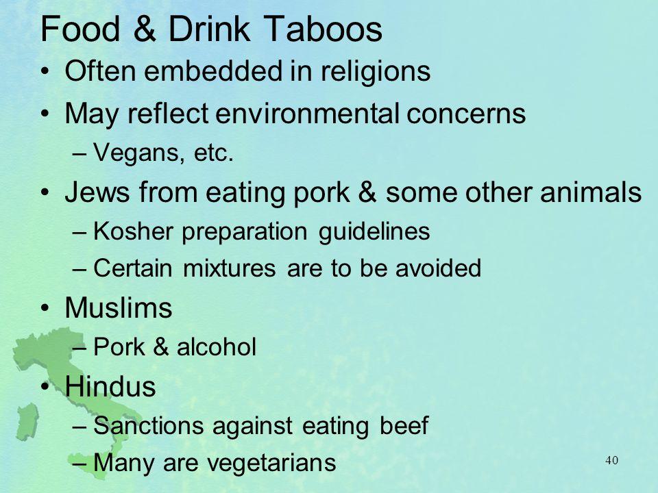 Food & Drink Taboos Often embedded in religions
