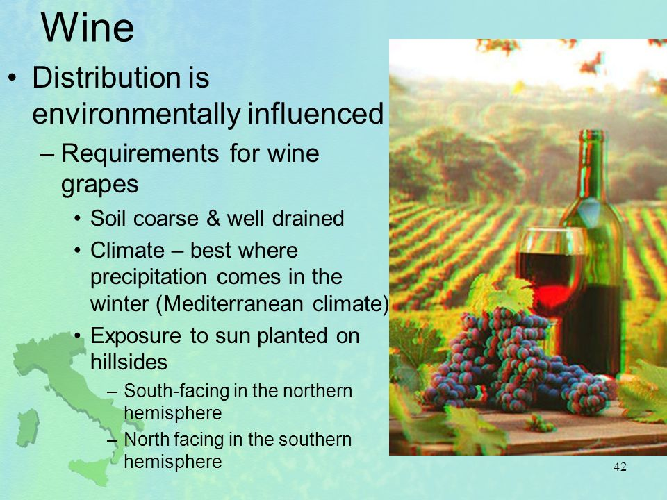 Wine Distribution is environmentally influenced