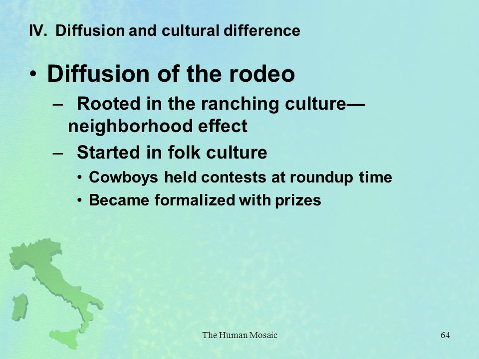 IV. Diffusion and cultural difference