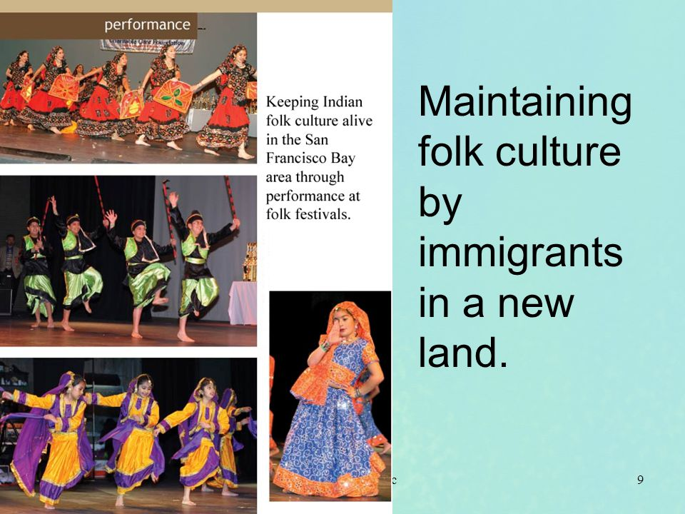 Maintaining folk culture by immigrants in a new land.