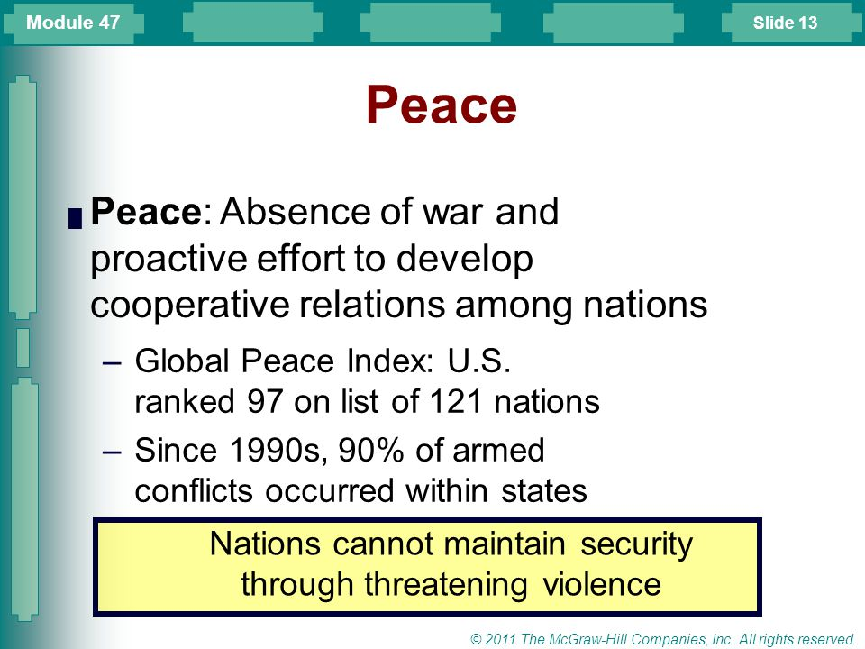 Nations cannot maintain security through threatening violence
