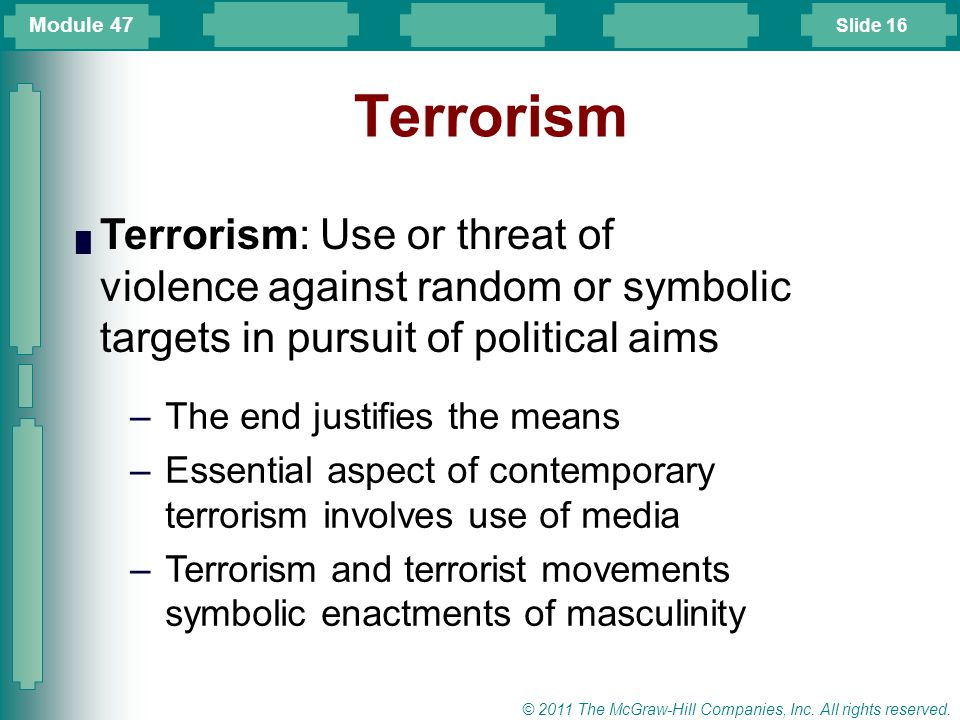 Module 47 Terrorism. Terrorism: Use or threat of violence against random or symbolic targets in pursuit of political aims.