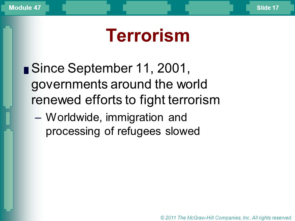 Module 47 Terrorism. Since September 11, 2001, governments around the world renewed efforts to fight terrorism.
