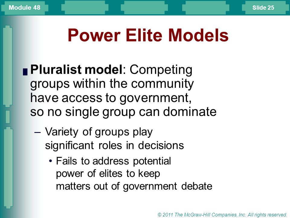 Module 48 Power Elite Models. Pluralist model: Competing groups within the community have access to government, so no single group can dominate.