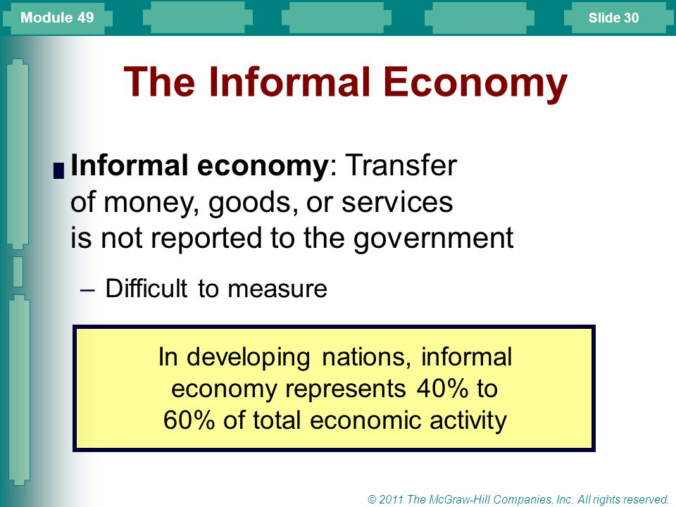 Module 49 The Informal Economy. Informal economy: Transfer of money, goods, or services is not reported to the government.