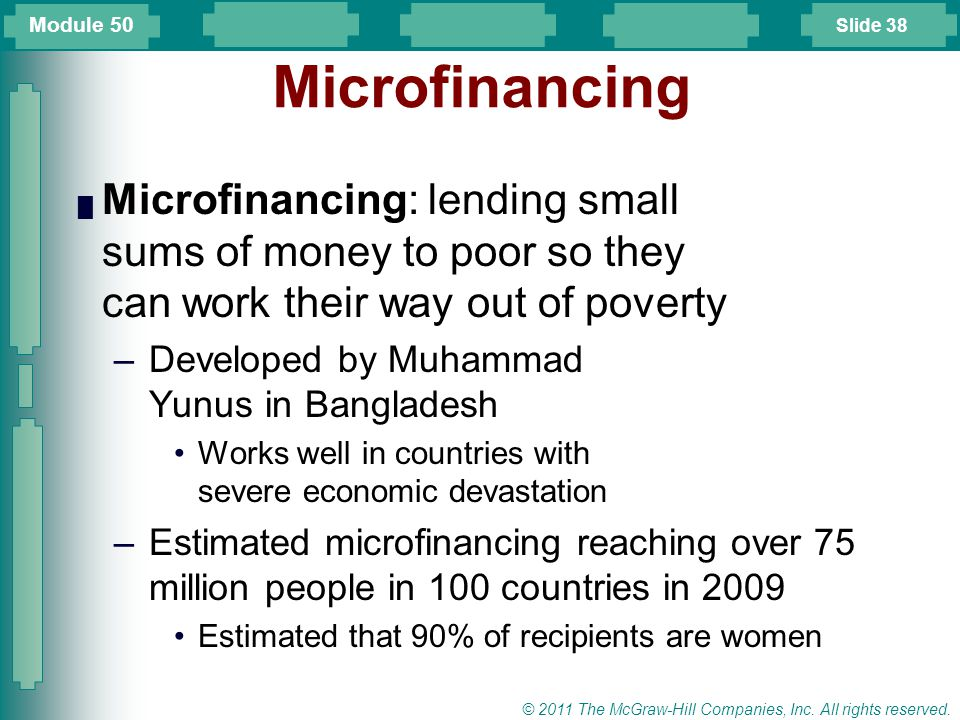 Module 50 Microfinancing. Microfinancing: lending small sums of money to poor so they can work their way out of poverty.