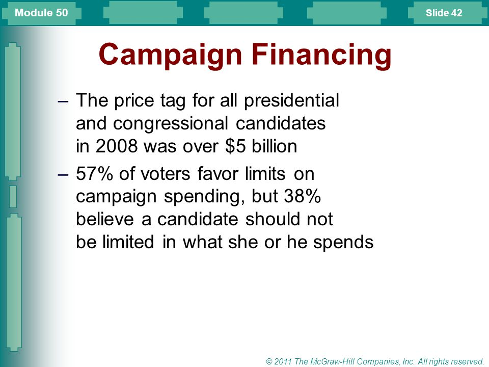 Module 50 Campaign Financing. The price tag for all presidential and congressional candidates in 2008 was over $5 billion.
