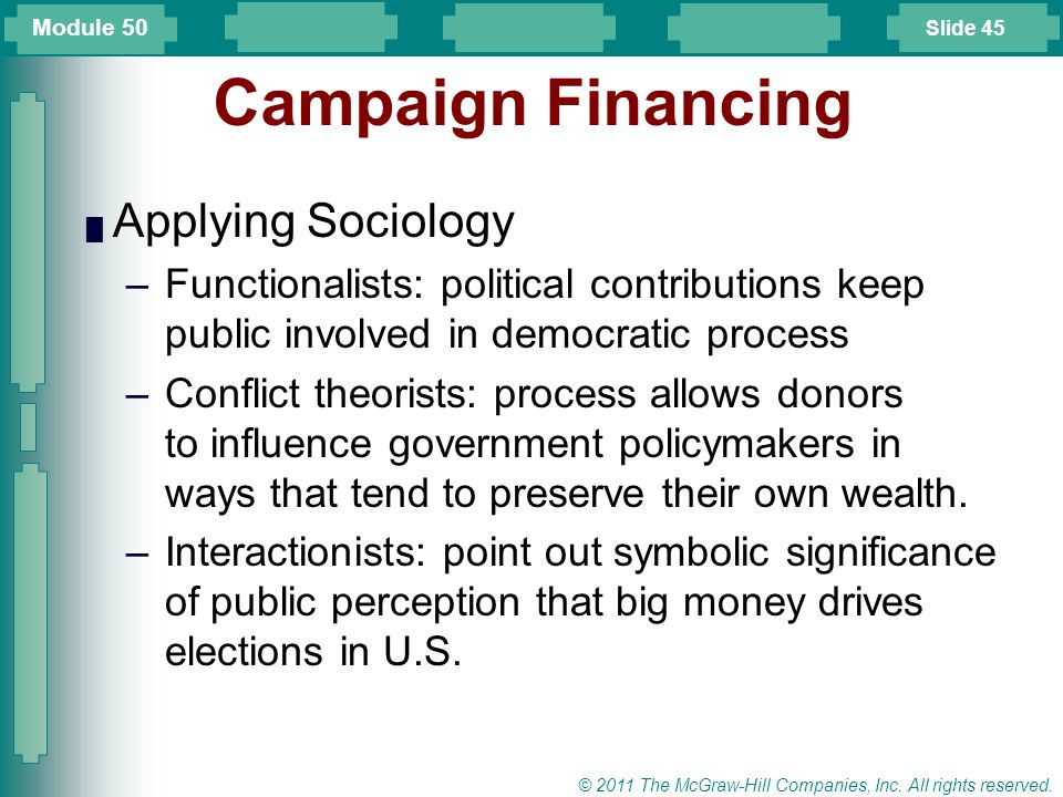 Campaign Financing Applying Sociology