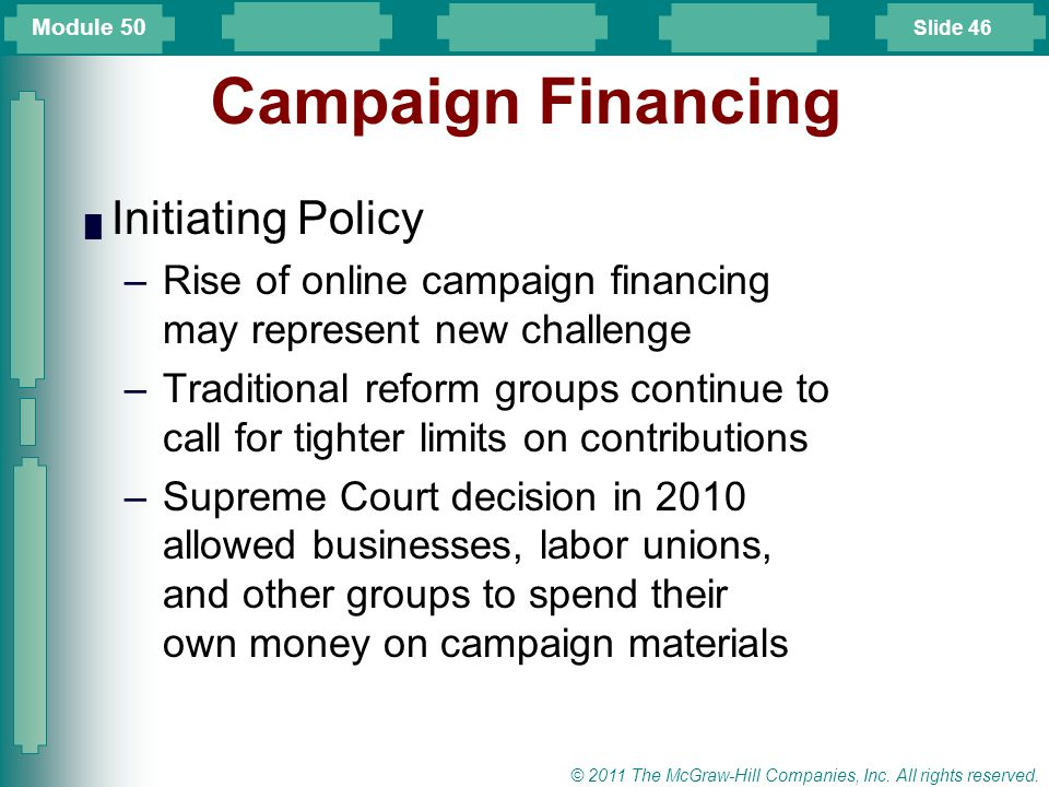 Campaign Financing Initiating Policy