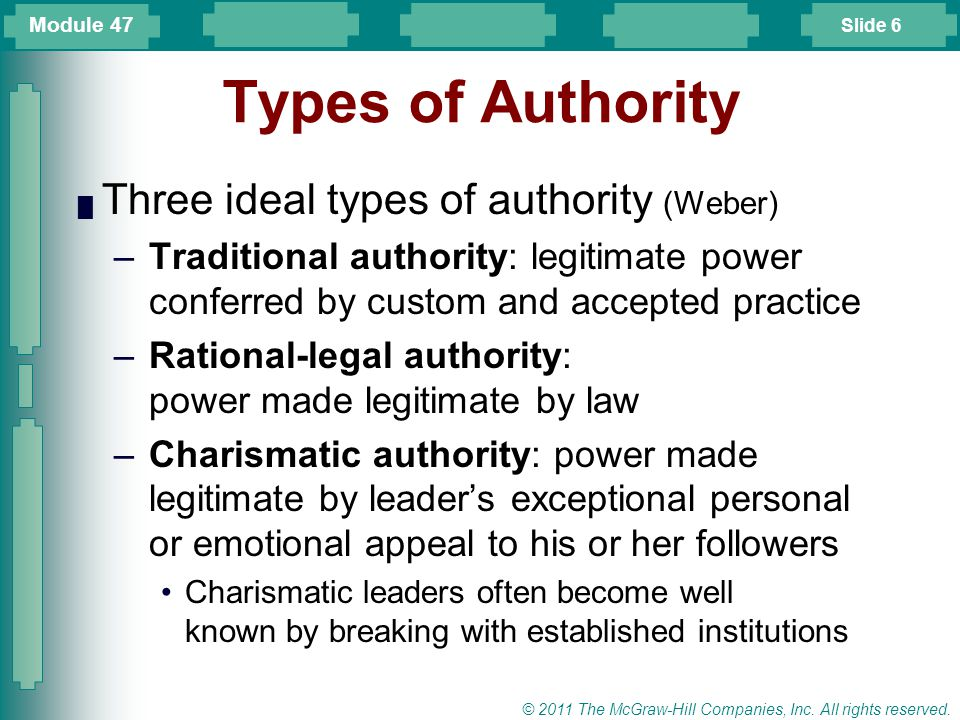 Types of Authority Three ideal types of authority (Weber)